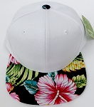 KIDS Jr. Plain Snap back Hats Wholesale - White Hawaiian Flower Black Brim
