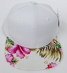 KIDS Jr. Plain Snap back Hats Wholesale - White Hawaiian Flower Pink Brim