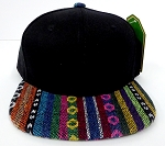 KIDS Jr. Plain Snap back Hats Wholesale - Aztec MultiColor Stripes -Black.Aztec