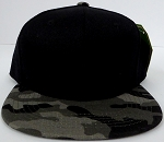 KIDS Junior Wholesale Blank Snapback Hats  -Black Charcoal Camo