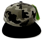 KIDS Junior Wholesale Blank Snapback Hats  - Charcoal Camo  Black