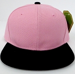 KIDS Junior Wholesale Blank Snapback Hats  - L. Pink  Black