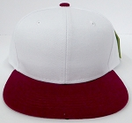 KIDS Junior Wholesale Blank Snapback Hats  -White Burgandy