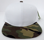 KIDS Junior Wholesale Blank Snapback Hats  -White Green Camo