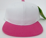 KIDS Junior Wholesale Blank Snapback Hats  -White Hot Pink