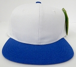 KIDS Junior Wholesale Blank Snapback Hats  -White Royal Blue
