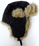 Trooper Bomber Faux Fur Winter Hats Wholesale - Solid Color  Black