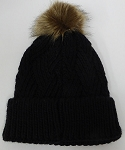 Wholesale Winter Fashion Fur Pom Pom Knit Beanies - Black