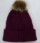 Wholesale Winter Fashion Fur Pom Pom Knit Beanies - Burgundy