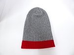 Wholesale Beanies Wholesale | Sideline Knit  Long Cuff Beanie Hats 2-tone - Ash Grey Red