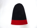 Wholesale Beanies Wholesale | Sideline Knit  Long Cuff Beanie Hats 2-tone -Black Red