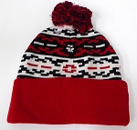 Wholesale Pom Pom Aztec Sideline Beanie - bk white red