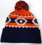 Wholesale Pom Pom Aztec Sideline Beanie - orange-navy