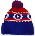 Wholesale Pom Pom Aztec Sideline Beanie - red-royal