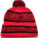 Wholesale Pom Pom Aztec Sideline Beanie Red