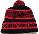Wholesale Pom Pom Aztec Sideline Beanie Red Black
