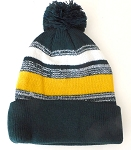Beanies Wholesale | Pom Pom Beanies Trendy Winter Hats -White Gold D.Green