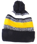 Beanies Wholesale | Pom Pom Beanies Trendy Winter Hats -White Gold  Navy