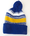 Beanies Wholesale | Pom Pom Beanies Trendy Winter Hats - White Gold Royal Blue