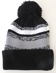 Beanies Wholesale | Pom Pom Beanies Trendy Winter Hats -White Grey Black