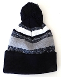 Beanies Wholesale | Pom Pom Beanies Trendy Winter Hats -White Grey Navy