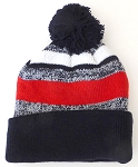 Beanies Wholesale | Pom Pom Beanies Trendy Winter Hats -White Red  Navy