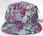 Wholesale 5 Panel Blank Floral Camp Hats - All Flower  Blue