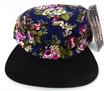 Wholesale 5 Panel Blank Floral Camp Hats -  Navy
