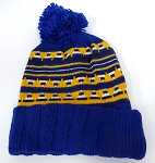 Wholesale Pom Pom Aztec Sideline Beanie Royal Blue