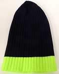 Wholesale Beanies Wholesale | Sideline Knit  Long Cuff Beanie Hats 2-tone -Navy Neon Lime