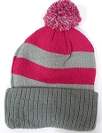 Beanies Wholesale | Pom Pom Beanies Trendy Winter Hats -Hot Pink Grey