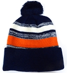 Beanies Wholesale | Pom Pom Beanies Trendy Winter Hats -Navy Orange