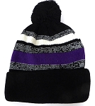 Beanies Wholesale | Pom Pom Beanies Trendy Winter Hats - Purple Black