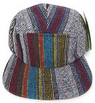 Wholesale Blank 5 Panel Camp Hats - Aztec Quilt Stripes
