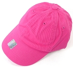 Washed 100% Cotton Blank Baseball Caps - Gold Metal Buckle - Hot Pink
