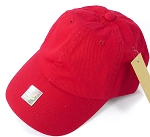 Washed 100% Cotton Blank Baseball Caps - Gold Metal Buckle - Red