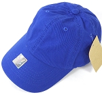 Washed 100% Cotton Blank Baseball Caps - Gold Metal Buckle - Royal Blue