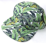 Wholesale Blank 5-Panel Floral Camp Hats Caps - Banana Leaf