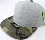 Wholesale Blank Snapback Cap - Denim Light Grey Indigo - Camo