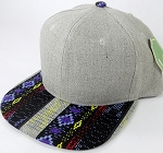 Wholesale Light Grey Denim Snapback Cap - Aztec - Blue Diamonds
