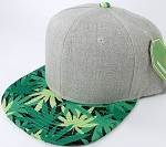 Wholesale Light Grey Denim Snapback Hats - Marijuana Leaf Brim