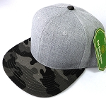 Wholesale Blank Snapback Cap - Denim Light Grey Indigo - Charcoal Camo