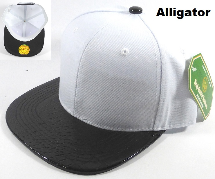 dd8be0d2 Bulk Faux Blank Alligator Skin Snapback Hats Wholesale | White - Black