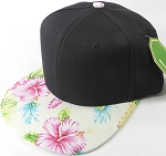 Floral Snapback Caps Wholesale - Ivory Hawaiian Hibiscus - Black Crown