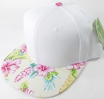 Floral Snapback Caps Wholesale - Ivory Hawaiian Hibiscus - White Crown