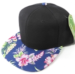 Floral Snapback Caps Wholesale - Navy Hawaiian Hibiscus - Black Crown