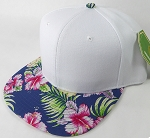 Floral Snapback Caps Wholesale - Navy Hawaiian Hibiscus - White Crown