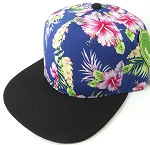 Floral Snapback Caps Wholesale - Navy Hawaiian Hibiscus - Black Brim