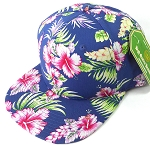 Floral Snapback Caps Wholesale - Navy Hawaiian Hibiscus - Solid