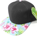 Floral Snapback Caps Wholesale - Sky Blue Hawaiian Hibiscus - Black Crown
